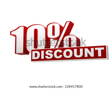 text 10 percentages discount 3d red white banner, letters and block, business concept - stock photo