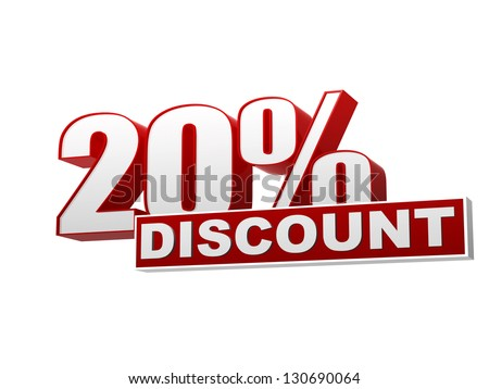 text 20 percentages discount 3d red white banner, letters and block, business concept - stock photo