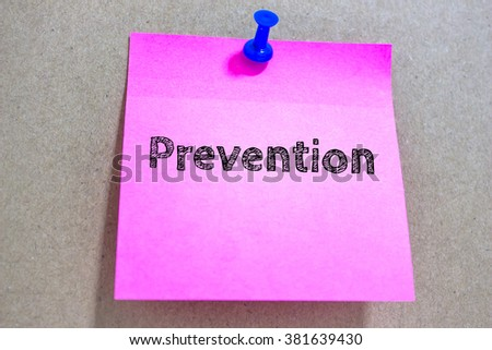 Text Prevention on pink paper note / business concept - stock photo