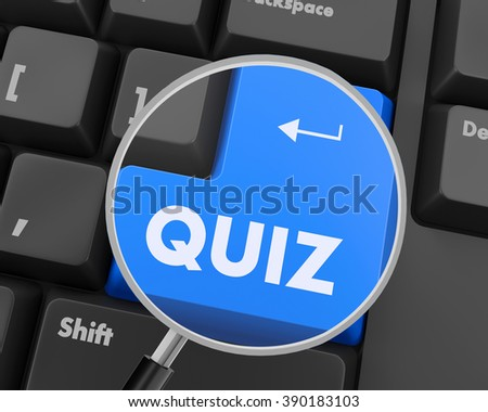 Text quiz button 3d render