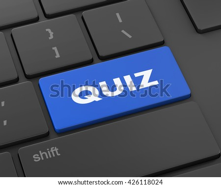 Text quiz button, 3d rendering - stock photo