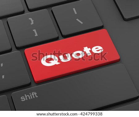 Text quote button, 3d rendering
