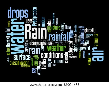 text rain clouds on black background