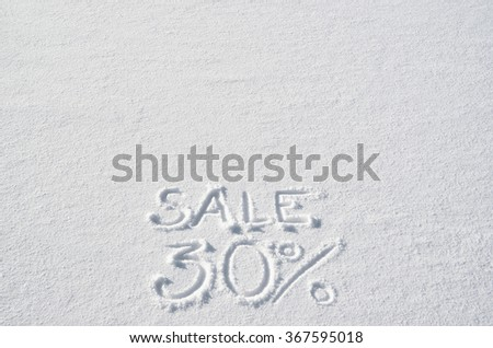 Text SALE 30% hand written on snow background. Horizontal banner template. Space for copy, lettering. - stock photo