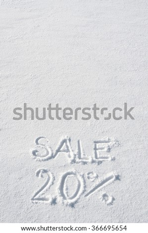Text SALE 20% hand written on snow background. Vertical postcard template. Space for copy, lettering. - stock photo