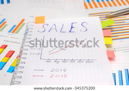 text sales at notebook with analytic graphs and charts, pen, dollar - stock photo