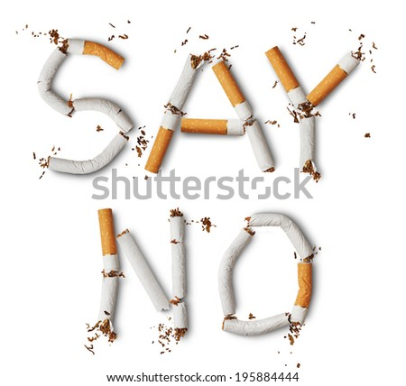 Text ''say no'' made from broken cigarettes - stock photo