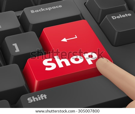 Text shop button 3d render