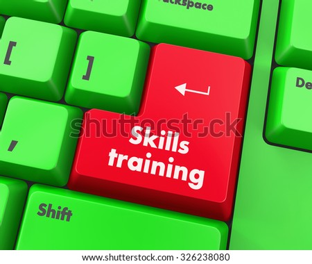 Text skills training button 3d render - stock photo