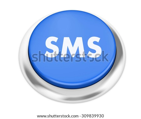 Text sms button 3d render - stock photo