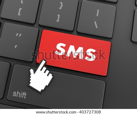 Text sms button, 3d rendering