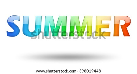 Text SUMMER with colorful letters and shadow. Illustration, isolated on white - stock photo