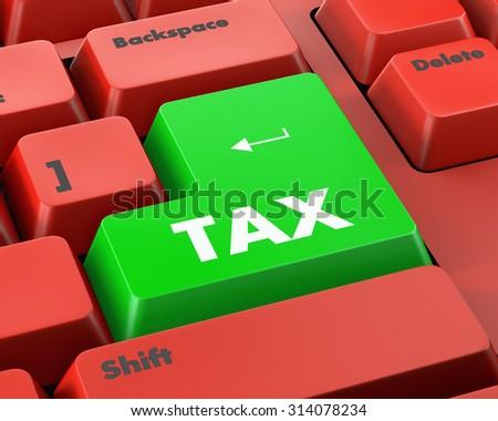 Text tax button 3d render - stock photo