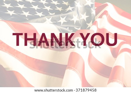 Text Thank You on American flag background - stock photo