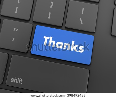 Text thanks button, 3d rendering