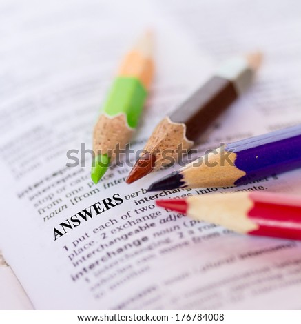 Text the word  ANSWERS - stock photo