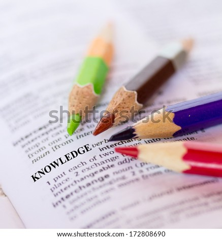Text the word KNOWLEDGE - stock photo