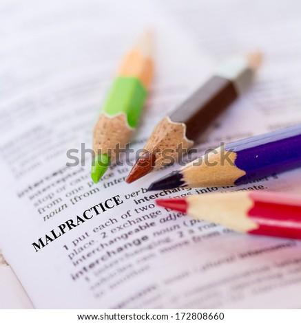 Text the word MALPRACTICE - stock photo