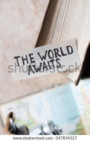 "text ""The World Awaits"" and book"