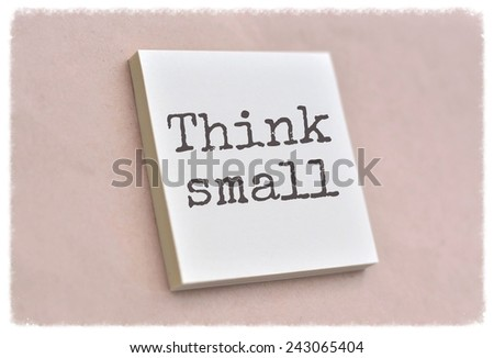 Text think small on the short note texture background