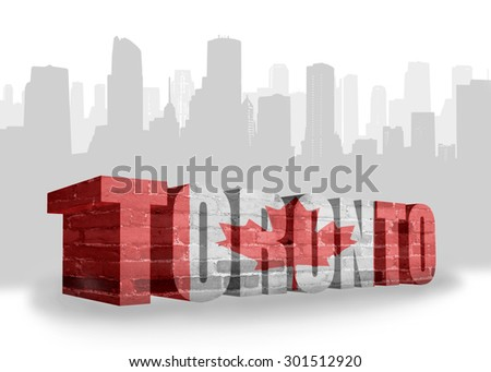 text Toronto with national flag of canada near abstract silhouette of the city - stock photo