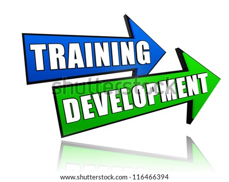 text training development in 3d colored arrows, business concept - stock photo