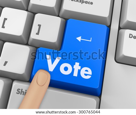 Text vote button 3d render