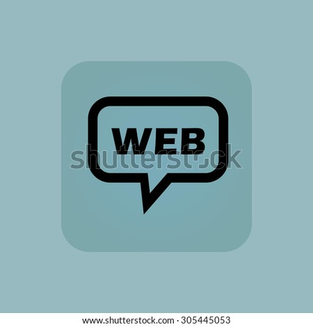 Text WEB in chat bubble, in square, on pale blue background