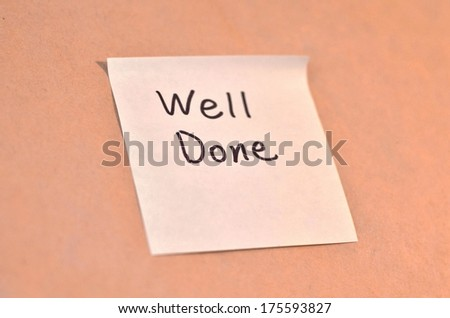 Text well done on the short note texture background