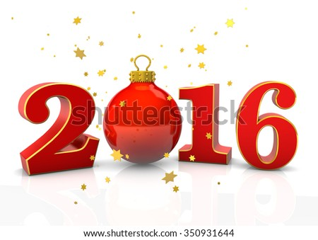 Text 2016 with red christmas bauble and golden stars on the white. 3d rendering.