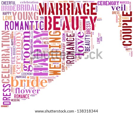 text/word cloud/word collage composed in the shape of a Bride in wedding dress