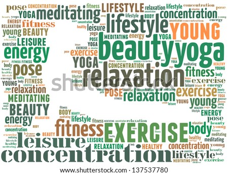 text/word cloud/word collage composed in the shape of a woman doing yoga meditation pose (woman fitness series)