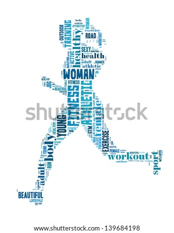 text/word cloud/word collage composed in the shape of a woman running (woman fitness series) - stock photo