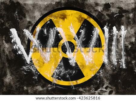 Text Ww 3 Symbol Radioactivity On Dark Stock Illustration 423625816