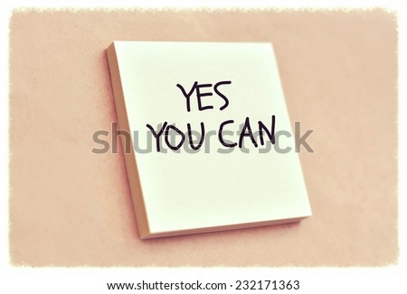 Text yes you can on the short note texture background