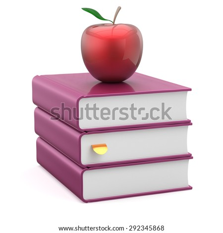 Textbook stack books purple blank covers and red apple reading education studying learning school college knowledge literature idea icon concept. 3d render isolated on white - stock photo