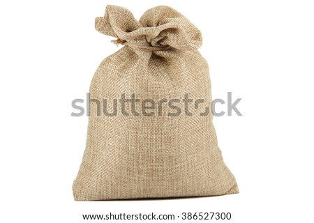 Textile - burlap sack isolated on white background with empty space - stock photo