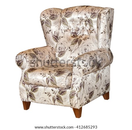 Textile classic grey chair with flowers print isolated on white background