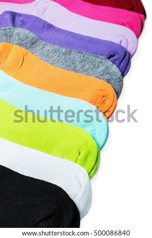 Textile colorful socks isolated on white background