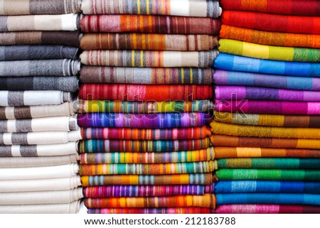 Textile details Ecuador Market - stock photo