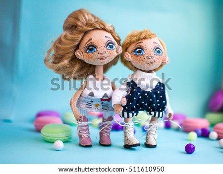 textile doll boy and girl