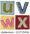 Textile letters collection - stock photo