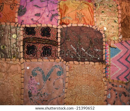 textile made with sarie off cuts - stock photo