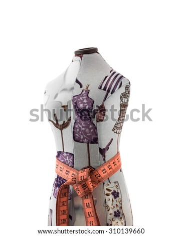 Textile mannequin bust with centimeter ribbon on waist  isolated on white background - stock photo