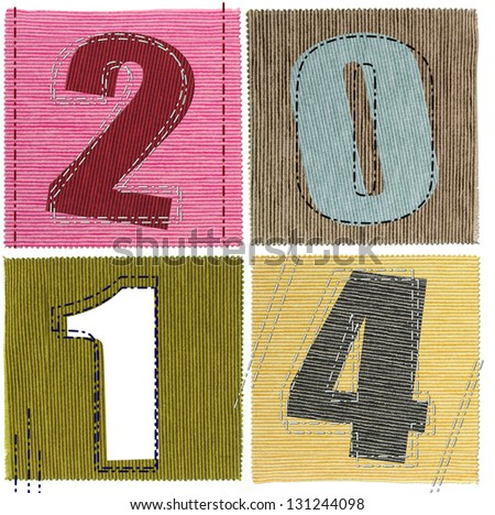 Textile numbers new year 2014 - stock photo