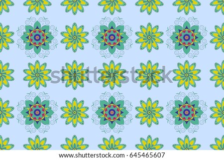 Textile print for bed linen, jacket, package design, fabric and fashion concepts. Abstract raster seamless pattern flower design in colors. Floral seamless pattern with watercolor effect.