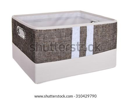 Textile storage box on a white background - stock photo