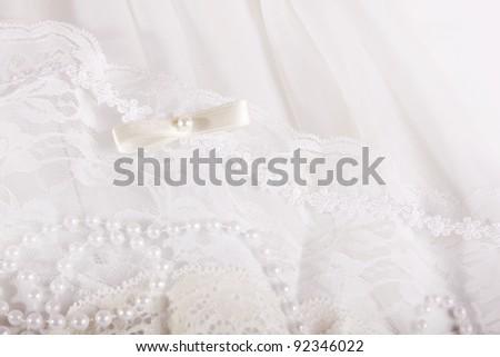 textile wedding background with beads - stock photo