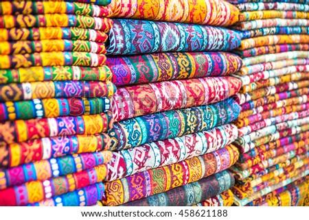 Closeup Image On Classic Colorful Peruvian Stock Photo