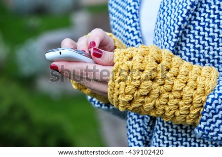 Texting on the phone - stock photo